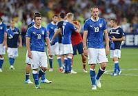 FUSSBALL  EUROPAMEISTERSCHAFT 2012   FINALE Spanien - Italien            01.07.2012 Enttaeuschte Italiener nach dem Abpfiff: Antonio Di Natale (li) und Leonardo Bonucci  (re, beide Italien)