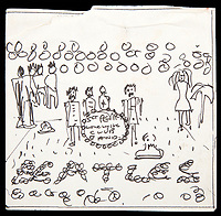 BNPS.co.uk (01202 558833)<br /> Pic: Juliens/BNPS<br /> <br /> Yours for &pound;50,000....<br /> <br /> Birth of a legend...John Lennon's original sketch of the most famous album cover in history.<br /> <br /> Found in a sketchbook left behind at Lennon's Kenwood home in Surrey and recovered by the new owners is this extraordinary ink on paper sketch of &ldquo;Sgt. Pepper&rsquo;s Lonely Hearts Club Band&rdquo; album cover, released in 1967. <br /> <br /> Lennon wrote much of the album before leaving the home in 1969. The astonishing sketch includes John Lennon&rsquo;s handwriting of the album&rsquo;s title on the central bass drum in the image. This sketch is one of the most significant and historically important pieces of Beatles memorabilia ever to be recovered. <br /> <br /> Juliens Auction - May 20th - Est &pound;50,000.