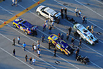 Jan. 21, 2012; Jupiter, FL, USA: Aerial view of the cars of NHRA funny car drivers Ron Capps (below) and Mike Neff in the staging lanes during testing at the PRO Winter Warmup at Palm Beach International Raceway. Mandatory Credit: Mark J. Rebilas-