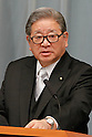 September 2, 2011, Tokyo, Japan - Shozaburo Jimi, state minister in charge of financial and postal services, fields questions from reports during a news conference at Kantei, prime ministers official residence, in Tokyo following an attestation ceremony before Emperor Akihito at the Imperial Palace in Tokyo on Friday, September 2, 2011. (Photo by AFLO) [3609] -mis-