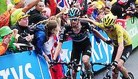 Picture by Simon Wilkinson/SWpix.com - 22/07/2016 - Cycling Tour de France 2016 Stage 19 - Albertville to Saint Gervais Mont Blanc<br /> Chris Froome and Walt Poels<br /> copyright picture - Simon Wilkinson - simon@swpix.com