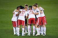 The New York Red Bulls huddle before the start of play. The New York Red Bulls and the Vancouver Whitecaps played to a 1-1 tie during a Major League Soccer (MLS) match at Red Bull Arena in Harrison, NJ, on September 10, 2011.