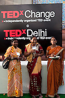 Attendees mingle with speaker Sushma Devi Vishwakarma (right) in the reception area after the talks at the India Islamic Cultural Centre during the TEDxChange @ TEDxDelhi in New Delhi, India on 22nd March 2011..