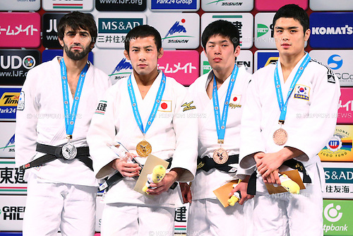 (L-R)<br /> Beslan Mudranov (RUS), <br /> Naohisa Takato, <br /> Toru Shishime (JPN), <br /> Kim Won Jin (KOR),<br /> DECEMBER 4, 2015 - Judo : <br />  IJF Grand Slam Tokyo 2015 International Judo Tournament<br /> Men's -60kg Award Ceremony<br /> at Tokyo Metropolitan Gymnasium, Tokyo, Japan. <br /> (Photo by Shingo Ito/AFLO SPORT)