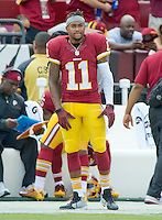 Washington Redskins wide receiver DeSean Jackson (11) watches the game action from the sideline during first quarter action against the Dallas Cowboys at FedEx Field in Landover, Maryland on Sunday, September 18, 2016.<br /> Credit: Ron Sachs / CNP /MediaPunch