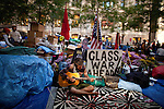 Kavy Merica of the Penn Comrads Collective (name of band) in Zuccotti Park during the  Occupy Wall Street Protest in New York...Photo by Robert Caplin.