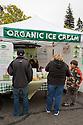 Market stall selling organic ice cream at Ecology Center's Berkeley Farmers' Market which prides itself on being a 'Zero Waste Zone' and prohibiting genetically modified foods. Berkeley, California, USA