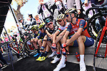 Riders including local man Vincenzo Nibali (ITA) Bahrain-Merida chill before the start of Stage 4 of the 100th edition of the Giro d'Italia 2017, running 181km from Cefalu to Mount Etna, Sicily, Italy. 9th May 2017.<br /> Picture: LaPresse/Gian Mattia D'Alberto | Cyclefile<br /> <br /> <br /> All photos usage must carry mandatory copyright credit (&copy; Cyclefile | LaPresse/Gian Mattia D'Alberto)