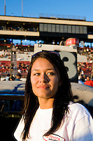 "Jannie participating in the ""Powder Puff"" all women Demolition Derby at the Irwindale Toyota Speedway. Her first derby, Jannie placed third.  Irwindale, California, Southern California, United States of America, North America. September, 2008, ©Stephen Blake Farrington"