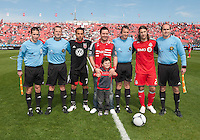 05 May 2012: D.C. United midfielder Dwayne De Rosario #7 and Toronto FC midfielder Torsten Frings #22 pose for a photo after the ceremonial coin toss in an MLS game between DC United and Toronto FC at BMO Field in Toronto..D.C. United won 2-0.