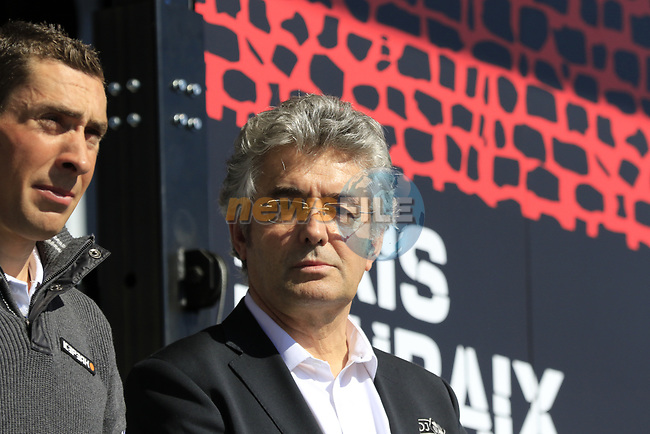 Former winner and now Directeur Sportive Marc Madiot FDJ at the Team Presentation for the upcoming 115th edition of the Paris-Roubaix 2017 race held in Compiegne, France. 8th April 2017.<br /> Picture: Eoin Clarke | Cyclefile<br /> <br /> <br /> All photos usage must carry mandatory copyright credit (&copy; Cyclefile | Eoin Clarke)