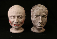 BNPS.co.uk (01202 558833)<br /> Pic: ThomsonRoddick/BNPS<br /> <br /> Two 19th century plaster death mask heads sold for &pound;1,900.<br /> <br /> These disturbing Victorian plaster cast heads of notorious criminals are a far cry from today's bland mugshots of lowlifes.<br /> <br /> Two of the heads have been identified as Benjamin Courvoisier, a serial killer in the mould of Jack the Ripper, and coachman Daniel Good who mutilated his pregnant mistress. <br /> <br /> In total, nine heads were discovered at an outbuilding at a rural home just outside Penrith, Cumbria, which have now fetched almost &pound;40,000 at auction. <br /> <br /> Experts predicted the collection of heads would sell for &pound;2,000  but Courvoisier's head alone went for &pound;20,000.<br /> <br /> Two of the heads were made by the famous British exponent of phrenology, James De Ville, who built a private museum of more than 5,000 specimens.