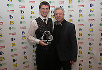 03/06/2014  <br /> John O&rsquo;Donoghue who recieved the Child of Courage award from  Louis Walsh<br /> during the Pride of Ireland awards at the Mansion House, Dublin.<br /> Photo: Gareth Chaney Collins