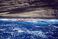 Outrigger canoe racing; Outrigger Canoe Club Men's crew, Men's Lanikai Race; Portlock, Oahu, Hawaii.