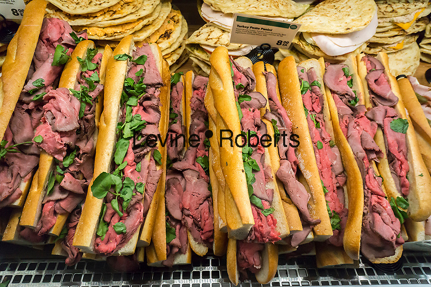 Roast beef sandwiches in the new Whole Foods Market in Newark, NJ on opening day Wednesday, March 1, 2017. The store is the chain's 17th store to open in New Jersey. The 29,000 square foot store located in the redeveloped former Hahne & Co. department store building is seen as a harbinger of the revitalization of Newark which never fully recovered from the riots in the 1960's.  (© Richard B. Levine)
