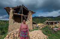 Nepal, Kavre District, Nala, earthquake relief efforts. Visiting women in their destroyed homes, while on the TEWA project supported by Global Fund for Women. They will now get some financial support through TEWA.