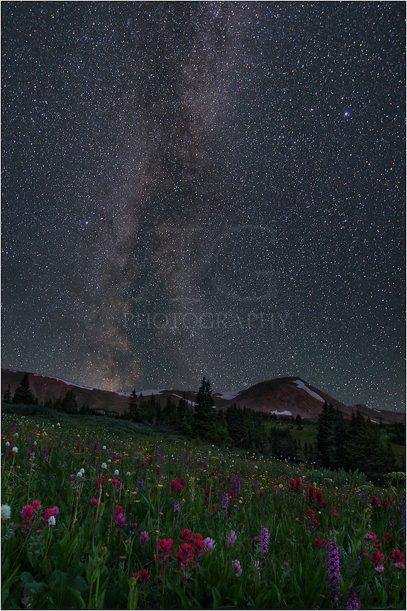 I love shooting Colorado landscapes. When I combine that with colorful wildflowers and throw in the night sky Milky Way, it seems like a perfect combination. This Milky Way image shows deep space from our home here on earth. I photographed this Colorado scene about 430am on a summer morning at Butler Gulch, a not-so-well-known spot for wildflowers (except to locals) that I try to visit a few times each summer. The walk up to this location is only about 2 miles and 1000 vertical feet, and provides the effort with remarkable views of the ridge where the Continental Divide Trail passes along.