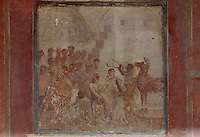Fresco of Cassandra and the Wooden Horse, from the East wall of the East ala of the Casa del Menandro, or House of Menander, Pompeii, Italy. This room is painted in the Fourth Style of Roman wall painting, c. 60–79 AD, a complex and Baroque style. Also known as the House of the Silverware, this is one of the largest and most elegant houses in Pompeii, belonging to the Poppei family and built in the 3rd century BC. Pompeii is a Roman town which was destroyed and buried under 4-6 m of volcanic ash in the eruption of Mount Vesuvius in 79 AD. Buildings and artefacts were preserved in the ash and have been excavated and restored. Pompeii is listed as a UNESCO World Heritage Site. Picture by Manuel Cohen