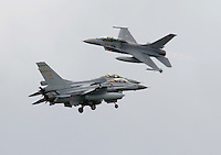 Belgian F-16 perform an air display during Tiger Air show.  Nato Tiger Meet is an annual gathering of squadrons using the tiger as their mascot. While originally mostly a social event it is now a full military exercise. Tiger Meet 2012 was held at the Norwegian air base &Oslash;rlandet.