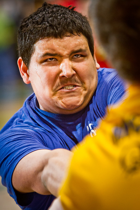 Daniel Rich, of Anchorage, competes in the semi-finals of the Eskimo Stick Pull at the Native Youth Olympics at the Dena'ina Convention Center, Anchorage