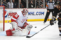 03/02/11 Anaheim, CA: Detroit Red Wings goalie Jimmy Howard #35 and Anaheim Ducks right wing Teemu Selanne #8 during an NHL game between the Detroit Red Wings and the Anaheim Ducks at the Honda Center. The Ducks defeated the Red Wings 2-1 in OT.