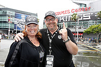 14 June 2012:  LA Kings announcer David Courtney with his wife Janet outside the Staples Center, celebrating the Kings Stanley Cup Championship Parade in Los Angeles, CA.