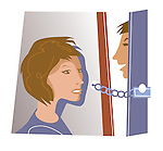 Young woman answering the door to a stranger with chain lock