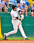 25 July 2010: Vermont Lake Monsters infielder Blake Kelso in action against the Tri-City ValleyCats at Centennial Field in Burlington, Vermont. The ValleyCats came from behind to defeat the Lake Monsters 10-8 in NY Penn League action. Mandatory Credit: Ed Wolfstein Photo