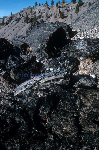Obsidian rocks, Mono Craters, California, USA.