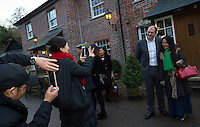 Chinese business people based in the UK pose  with Matthew Walsh, Town Mayor &amp; Chairman, Princes Risborough Town Council, outside The Plough at Cadsden, Buckinghamshire. SinoFortone Group bought the pub after it was visited by Chinese Premiere Ji Jinping last year, and aim to develop  a chain of English-style pubs China.<br /> <br /> Photo by Richard Jones