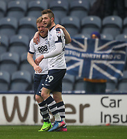 Preston North End's Daryl Horgan celebrates scoring his sides second goal  with Preston North End's Tom Barkuizen<br /> <br /> Photographer Mick Walker/CameraSport<br /> <br /> The EFL Sky Bet Championship - Preston North End v Reading - Saturday 11th March 2017 - Deepdale - Preston<br /> <br /> World Copyright &copy; 2017 CameraSport. All rights reserved. 43 Linden Ave. Countesthorpe. Leicester. England. LE8 5PG - Tel: +44 (0) 116 277 4147 - admin@camerasport.com - www.camerasport.com