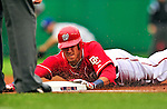 24 April 2010: Washington Nationals' shortstop Ian Desmond slides safely into third with a triple during a game against the Los Angeles Dodgers at Nationals Park in Washington, DC. The Dodgers edged out the Nationals 4-3 in a thirteen inning game. Mandatory Credit: Ed Wolfstein Photo