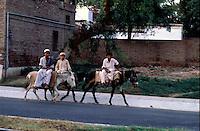 Pakistan  Peshawar  1986..Pakistani donkey owners ride through a street