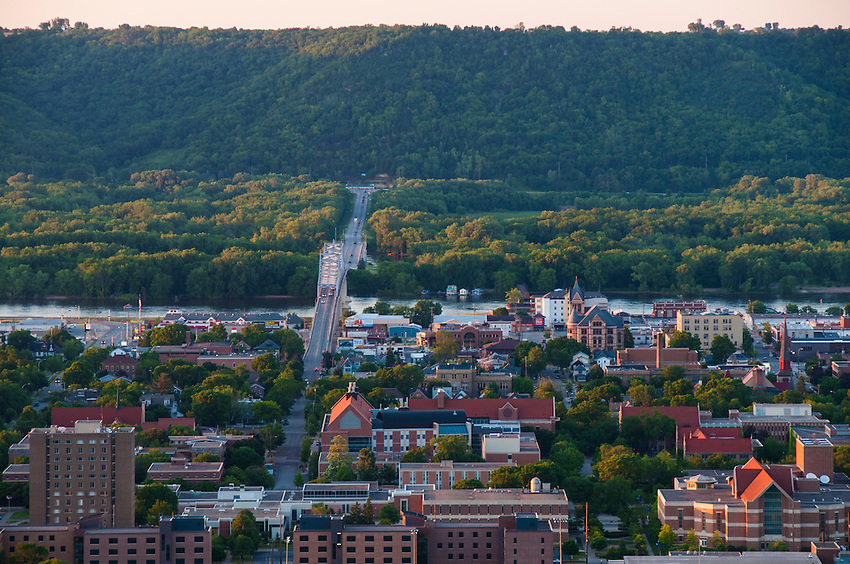 Winona, Minnesota is set along the Mississippi River among towering bluffs.