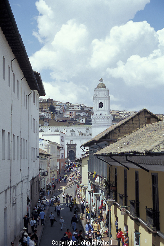 A crowded street in old Quito, Ecuador. Old Quito was a made a UNESCO World Heritage Site in 1978.