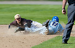 WINSTED,  CT-051217JS06- Gilbert's Eli Pasternack (17) dives back safely to second base before the tag by Thomaston's Jake Torrence (15) during their game Friday at Walker Field in Winsted. <br />   Jim Shannon Republican-American