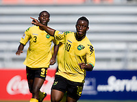 Jason Wright (10) of Jamaica celebrates his goal during the quarterfinals of the CONCACAF Men's Under 17 Championship at Catherine Hall Stadium in Montego Bay, Jamaica. Jamaica defeated Honduras, 2-1.