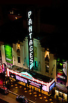 Pantages Theater in Hollywood at night