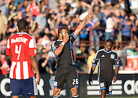 Victor Bernardez of Earthquakes celebrates after scoring a goal during the first half of the game against Chivas USA at Buck Shaw Stadium in Santa Clara, California on September 2nd, 2012.   San Jose Earthquakes defeated Chivas USA, 4-0.