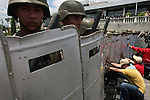 Tegucigalpa, Honduras. July 5th, 2009. State forces clash with protesters at Toncontin Airport. Thousands of people marched towards the airport hoping to welcome deposed President Manuel &quot;Mel&quot; Zelaya back from Nicaragua after being forcibly removed from power by a Coup d'Etat on June 28th, 2009.