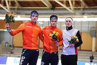 SPEEDSKATING: BERLIN: Sportforum Berlin, 28-01-2017, ISU World Cup, Podium 5000m Men B Division, Jos de Vos (NED), Marcel Bosker (NED), Livio Wenger (SUI), ©photo Martin de Jong