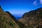 View through valley looking towards Mount Teide on Tenerife from La Gomera, Canary Islands,Spain