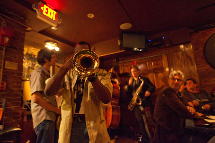 """The Jazz Trio """"The Young Lions""""  performs at Cafe Nema, an Ethiopian Sports Bar (upstairs) and Jazz Club (downstairs) in Washington's U Street District"""