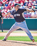 11 March 2014: New York Yankees pitcher David Herndon on the mound during a Spring Training game against the Washington Nationals at Space Coast Stadium in Viera, Florida. The Nationals defeated the Yankees 3-2 in Grapefruit League play. Mandatory Credit: Ed Wolfstein Photo *** RAW (NEF) Image File Available ***