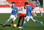 St Johnstone v Stranraer...01.11.15   Little Big Shot Youth Cup 3rd Round, McDiarmid Park, Perth<br /> Eoghan McCawl and George Hunter close out Kieran McLaughlin<br /> Picture by Graeme Hart.<br /> Copyright Perthshire Picture Agency<br /> Tel: 01738 623350  Mobile: 07990 594431