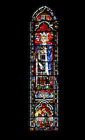 Salomon and Jeroboam, king and high priest of the Old Testament, lancet window, North Rose window, circa 1230, Chartres Cathedral, Eure et Loir, France. Picture by Manuel Cohen