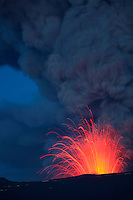 Strombolian eruption and ash cloud of Eyjafjallajökull Volcano, Iceland.