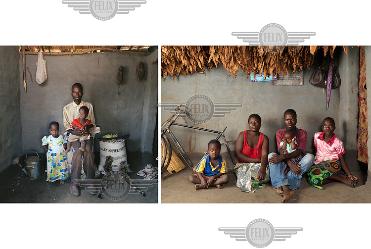 Left: 2005, Saulos Fanuel (25), with daughter Ketilina (two) and son Lefiyamu (one), sitting on a bag of fertilizer. Saulos is the son of the village headman. Few people in the village eat meat as often as he does. Though he doesn't even have cattle or chickens. He prefers wild cat meat which he says is much better than chicken, goat or veal. He catches about five in a year. He wants to use their skins as decoration. <br /> <br /> Right: 2015, Saulos Fanuel (35), with three of their four children (L to R): Jolam (five) and daughters Dorin (less than one year) and Ketilina (11). <br /> <br />  The village of Dickson contains 55 households and some 300 inhabitants. In 2005 photographer Jan Banning and writer Dick Wittenburg spent two extended stays in the village interviewing its people<br /> and photographing them in their homes as part of a project on poverty.  They returned to Dickson in 2015 to see how the villagers had fared in the intervening years which had seen the implementation of the Millennium Development Goals.