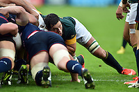 Francois Louw of South Africa in action at a scrum. Rugby World Cup Pool B match between South Africa and the USA on October 7, 2015 at The Stadium, Queen Elizabeth Olympic Park in London, England. Photo by: Patrick Khachfe / Onside Images