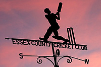 Red sky behind the Essex CCC weather vane during Essex Eagles vs Sussex Sharks, Royal London One-Day Cup Cricket at The Cloudfm County Ground on 10th May 2017